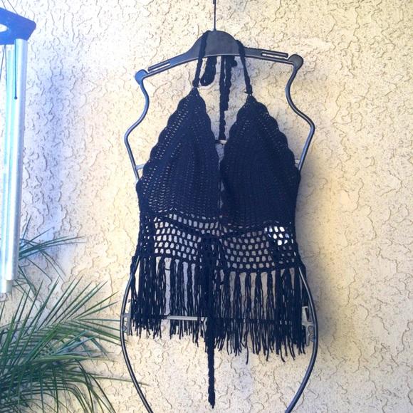 I JOAH crocheted black halter top